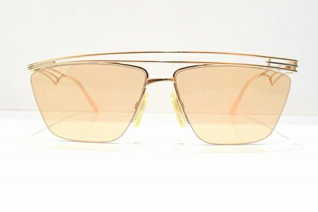 鯖江製(NEO)ヴィンテージメガネフレーム新品めがね 眼鏡 サングラスアシンメトリーHIPHOPゴールドCAZAL風