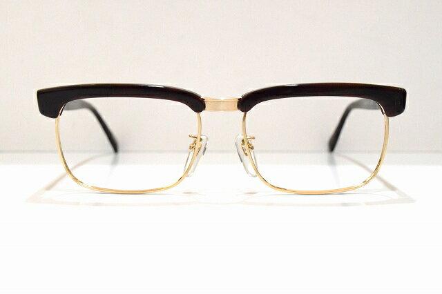 セルロイド製金張りサーモントヴィンテージメガネフレーム新品関眼鏡めがね 眼鏡 サングラス999,9鯖江職人手作り