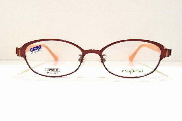 napina NA-3204 col.Rメガネフレーム新品めがね 眼鏡 サングラス赤可愛い日本製伊達鯖江職人遠近両用老眼近視