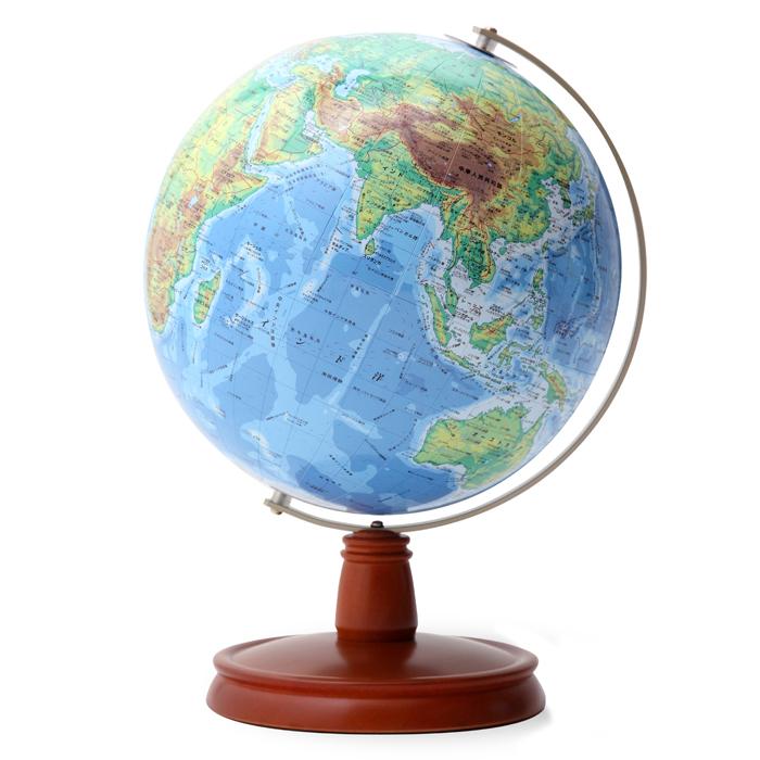 【送料無料】 WATANABE 渡辺教具製作所 地球儀 WB 地勢タイプ 木台 (No.2305) 【正規品】