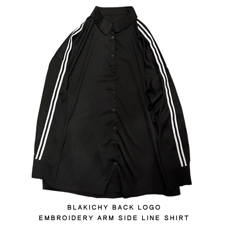BLAKICHY バックロゴ刺繍アームサイドLINEシャツ原宿 韓国 メンズ レディース ユニセックス 男女兼用 2019 新作モード ストリート オルチャン ファッション