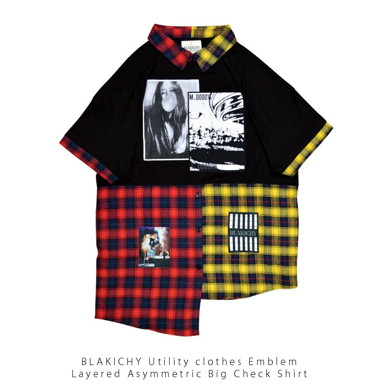 BLAKICHY 襟付き ワッペン レイヤード アシンメトリー ビッグチェックシャツ Tシャツ原宿 韓国 メンズ レディース ユニセックス 男女兼用 2020 新作モード ストリート オルチャン ファッション ブラキシー ブラキシィ 中山咲月