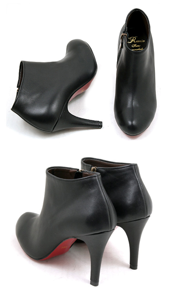 / Booty / red sole and zipper / mode / high heels / ☆ ベーシックモードブーティ-beautiful leg boots, leather boots short boots Womens Leather boots leather boots booties-