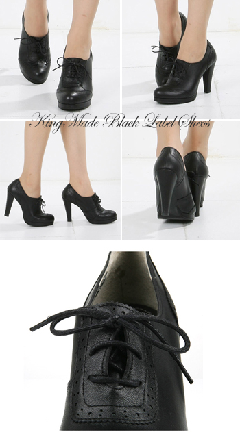 (22 cm-26 cm) luxury natural leather use / Bootie / lace-up high heels / black / / simple / ☆ シンプルブラックブーティヒール