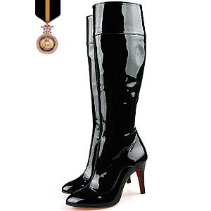 22cm 26cm 小さいサイズ・大きいサイズ!本革 ブーツ/本革 ロングブーツ レディース/エナメルレオパードディテールブーツ【手作り靴の為ご注文後キャンセル・返品・交換不可商品】05P03Dec16