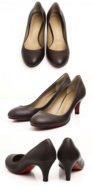 [real leather pumps ★ Shin pulse tile heel pumps ☆ dark brown black, black, 6cm, 7cm, 8cm, 9cm, the heel choice judo worth lambskin leather which are easy to walk]