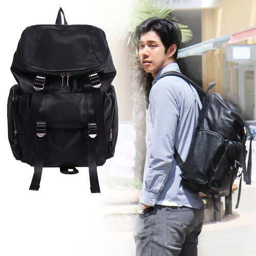 リュック メンズ リュックサック 大容量 バックパック メンズバッグ 収納 シンプル カジュアル 軽量 旅行 スタイリッシュ 高級感 収納 合成皮革 フェイクレザー◎バイスレザーバックパック