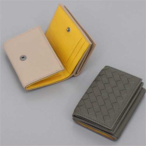 二つ折おり財布 小物入れ 財布 長財布 カラフル バッグ レディース 収納◎PREMIUM LAMBSKINウィービングトリオ二つ折おり財布[5COLOR]
