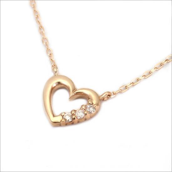 スリーハート! K10 ダイヤモンド ハート ネックレス(チェーン付)【ゴールド】【ホワイトゴールド】【ピンクゴールド】