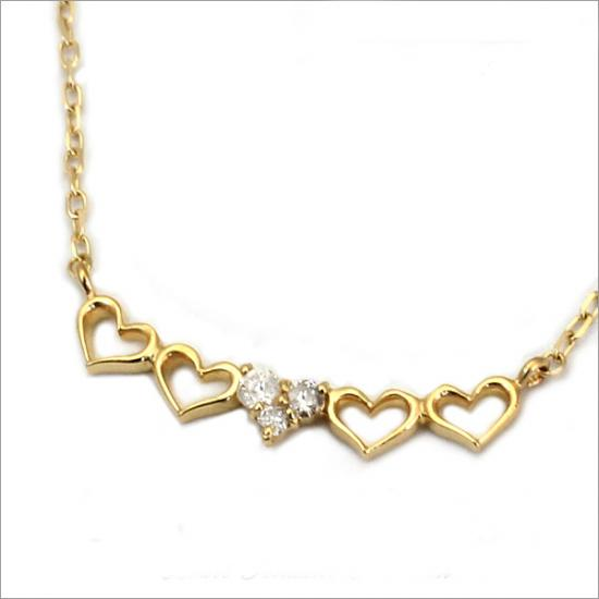 5連プチハート! K10 ダイヤモンド ハート ネックレス(チェーン付)【ゴールド】【ホワイトゴールド】【ピンクゴールド】