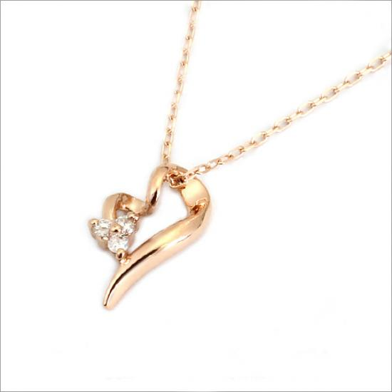 フラワーハート! K10 ダイヤモンド ハート ネックレス(チェーン付)【ゴールド】【ホワイトゴールド】【ピンクゴールド】