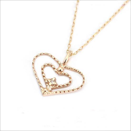 ミル打ちオープンハート! K10 ダイヤモンド ハート ネックレス(チェーン付)【ゴールド】【ホワイトゴールド】【ピンクゴールド】