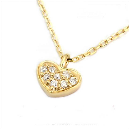ぷっくり可愛いハート! K10 ダイヤモンド ハート ネックレス(チェーン付)【ゴールド】【ホワイトゴールド】【ピンクゴールド】