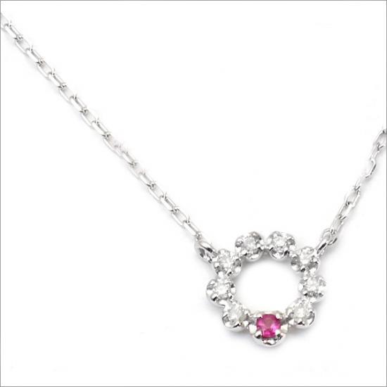 K10 ルビー×0.04ct ダイヤモンド プチネックレス(チェーン付)【ゴールド】【ホワイトゴールド】【ピンクゴールド】