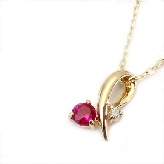 K10 ルビー×0.01ct ダイヤモンド ネックレス(チェーン付)【ゴールド】【ホワイトゴールド】【ピンクゴールド】】