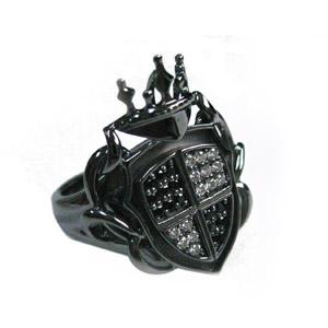 キュービックジルコニア【CZ】×シルバー925 エンブレムデザイン ブラック リング 【ブラックロジウム】 文字入れ刻印可能♪/ペアセットリング/結婚指輪/マリッジリング