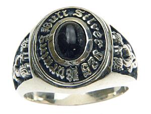 【バー二ングブル】シルバー925×ブラックスター カレッジリング 文字入れ刻印可能♪/ペアセットリング/結婚指輪/マリッジリング