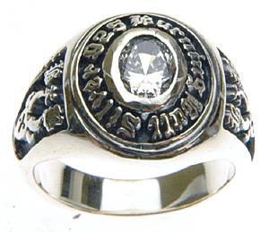 【バー二ングブル】シルバー925×キュービックジルコニア カレッジリング 文字入れ刻印可能♪/ペアセットリング/結婚指輪/マリッジリング