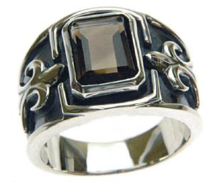 【バー二ングブル】シルバー925×スモーキークォーツ リング 文字入れ刻印可能♪/ペアセットリング/結婚指輪/マリッジリング
