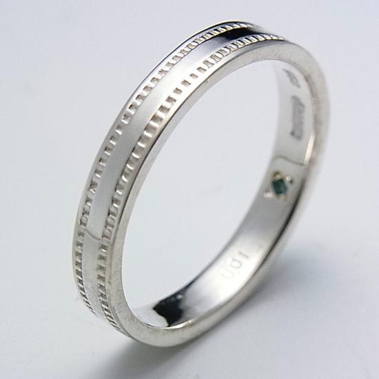 【オルブランカ】シルバー925 メモリアル ブルーダイヤ ミル打ちデザインリング    文字入れ刻印可能♪/ペアリング/結婚指輪/マリッジリング