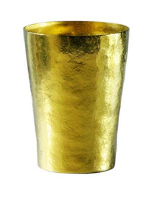 【送料無料】玲 二重 黄金 イエロー 黄色 250ml 純チタンタンブラー  敬老の日にオススメ純チタンコップ 泡立ちにこだわった純チタンカップを夏のビールのお供に