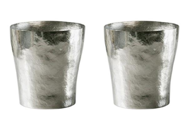 【送料無料】玲 二重 シルバー ペアセット 250ml 純チタンタンブラー  敬老の日にオススメ純チタンコップ 泡立ちにこだわった純チタンカップを夏のビールのお供に