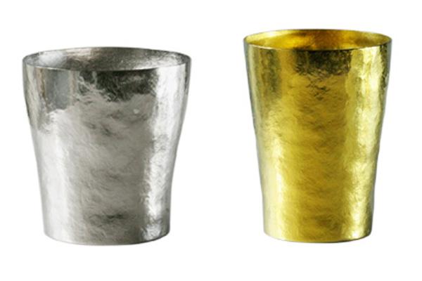 【送料無料】玲 二重 シルバー イエロー ゴールド ペアセット 250ml 純チタンタンブラー  敬老の日にオススメ純チタンコップ 泡立ちにこだわった純チタンカップを夏のビールのお供に
