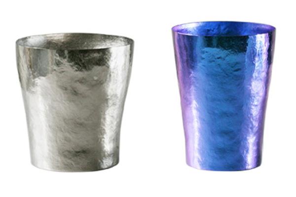 【送料無料】玲 二重 シルバー ブルー ペアセット 250ml 純チタンタンブラー  敬老の日にオススメ純チタンコップ 泡立ちにこだわった純チタンカップを夏のビールのお供に