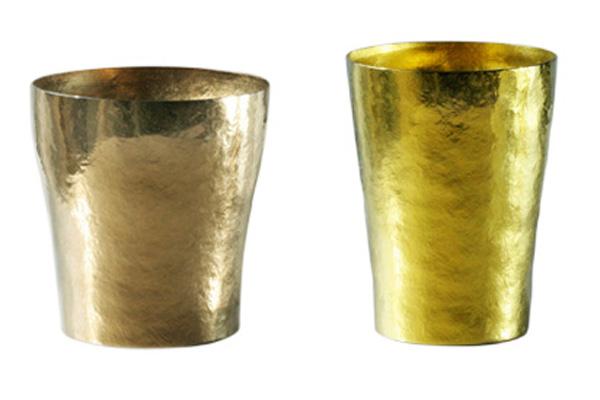【送料無料】玲 二重 ブラウン イエロー ゴールド ペアセット 250ml 純チタンタンブラー  敬老の日にオススメ純チタンコップ 泡立ちにこだわった純チタンカップを夏のビールのお供に