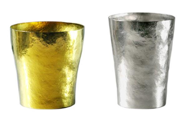 【送料無料】玲 二重 イエロー ゴールド シルバー ペアセット 250ml 純チタンタンブラー  敬老の日にオススメ純チタンコップ 泡立ちにこだわった純チタンカップを夏のビールのお供に