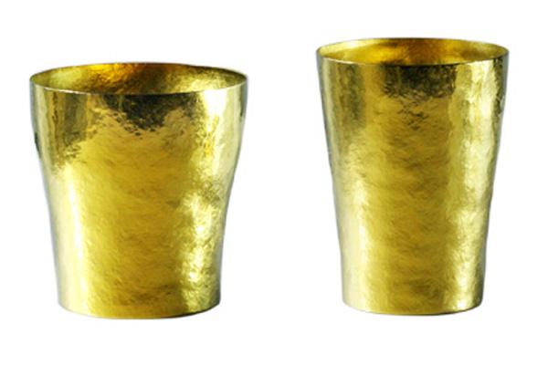 【送料無料】玲 二重 イエロー ゴールド ペアセット 250ml 純チタンタンブラー  敬老の日にオススメ純チタンコップ 泡立ちにこだわった純チタンカップを夏のビールのお供に