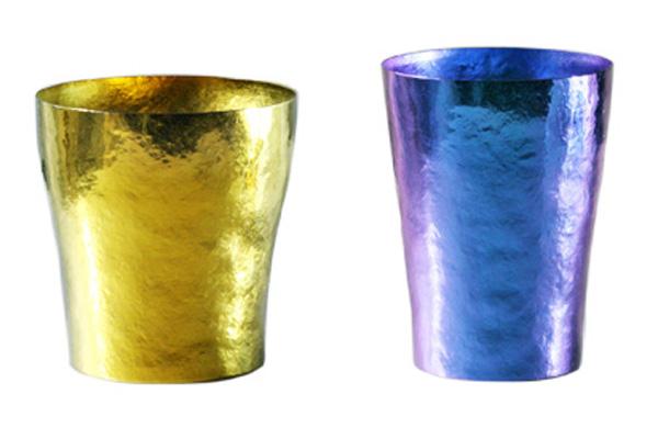 【送料無料】玲 二重 イエロー ゴールド ブルー ペアセット 250ml 純チタンタンブラー  敬老の日にオススメ純チタンコップ 泡立ちにこだわった純チタンカップを夏のビールのお供に