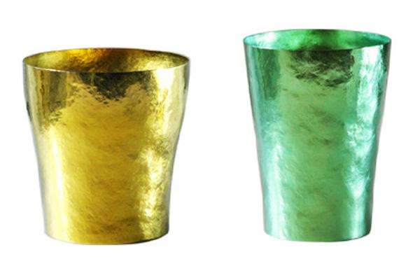 【送料無料】玲 二重 イエロー ゴールド グリーン ペアセット 250ml 純チタンタンブラー  敬老の日にオススメ純チタンコップ 泡立ちにこだわった純チタンカップを夏のビールのお供に