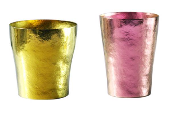 【送料無料】玲 二重 イエロー ゴールド ピンク ペアセット 250ml 純チタンタンブラー  敬老の日にオススメ純チタンコップ 泡立ちにこだわった純チタンカップを夏のビールのお供に