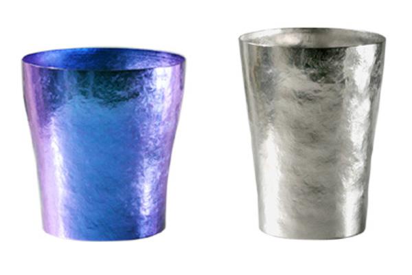【送料無料】玲 二重 ブルー シルバー ペアセット 250ml 純チタンタンブラー  敬老の日にオススメ純チタンコップ 泡立ちにこだわった純チタンカップを夏のビールのお供に