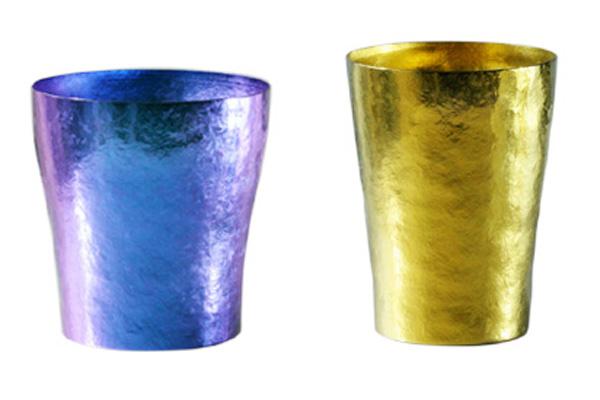 【送料無料】玲 二重 ブルー イエロー ゴールド ペアセット 250ml 純チタンタンブラー  敬老の日にオススメ純チタンコップ 泡立ちにこだわった純チタンカップを夏のビールのお供に