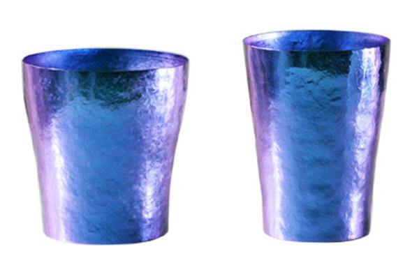 【送料無料】玲 二重 ブルー ペアセット 250ml 純チタンタンブラー  敬老の日にオススメ純チタンコップ 泡立ちにこだわった純チタンカップを夏のビールのお供に