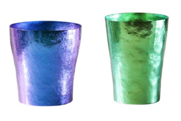 【送料無料】玲 二重 ブルー グリーン ペアセット 250ml 純チタンタンブラー  敬老の日にオススメ純チタンコップ 泡立ちにこだわった純チタンカップを夏のビールのお供に