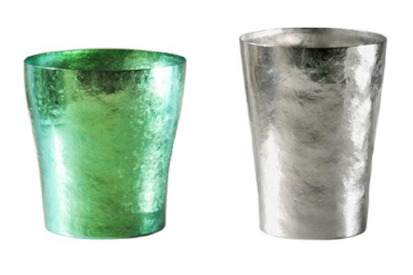 【送料無料】玲 二重 グリーン シルバー ペアセット 250ml 純チタンタンブラー  敬老の日にオススメ純チタンコップ 泡立ちにこだわった純チタンカップを夏のビールのお供に