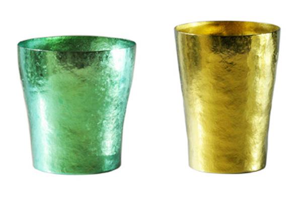 【送料無料】玲 二重 グリーン イエロー ゴールド ペアセット 250ml 純チタンタンブラー  敬老の日にオススメ純チタンコップ 泡立ちにこだわった純チタンカップを夏のビールのお供に