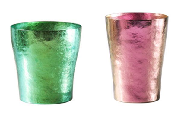 【送料無料】玲 二重 グリーン ピンク ペアセット 250ml 純チタンタンブラー  敬老の日にオススメ純チタンコップ 泡立ちにこだわった純チタンカップを夏のビールのお供に