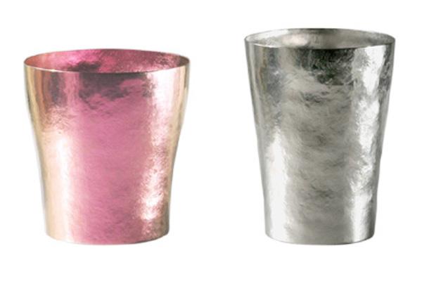 【送料無料】玲 二重 ピンク シルバー ペアセット 250ml 純チタンタンブラー  敬老の日にオススメ純チタンコップ 泡立ちにこだわった純チタンカップを夏のビールのお供に