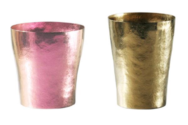 【送料無料】玲 二重 ピンク ブラウン ペアセット 250ml 純チタンタンブラー  敬老の日にオススメ純チタンコップ 泡立ちにこだわった純チタンカップを夏のビールのお供に