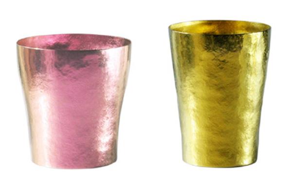 【送料無料】玲 二重 ピンク イエロー ゴールド ペアセット 250ml 純チタンタンブラー  敬老の日にオススメ純チタンコップ 泡立ちにこだわった純チタンカップを夏のビールのお供に