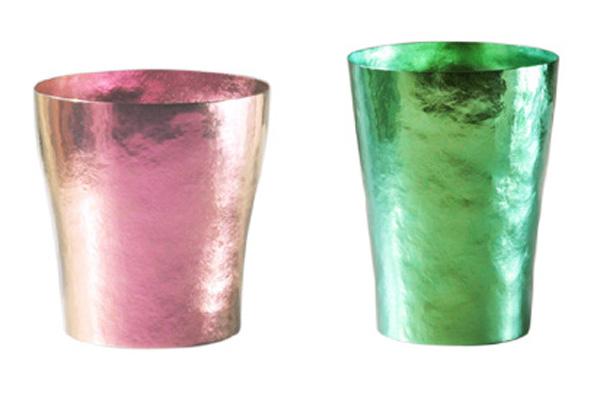 【送料無料】玲 二重 ピンク グリーン ペアセット 250ml 純チタンタンブラー  敬老の日にオススメ純チタンコップ 泡立ちにこだわった純チタンカップを夏のビールのお供に