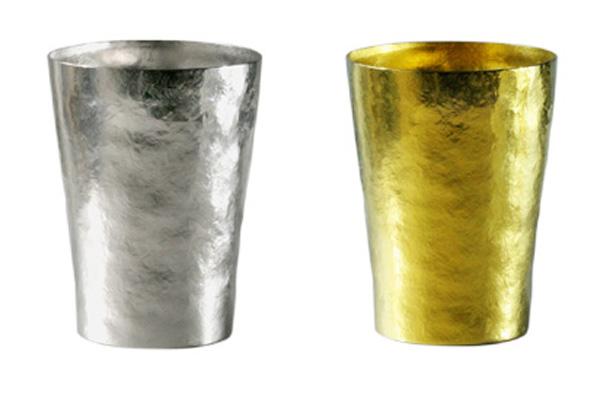 【送料無料】玲 二重 シルバー イエロー ゴールド 250ml 純チタンタンブラー  敬老の日にオススメ純チタンコップ 泡立ちにこだわった純チタンカップを夏のビールのお供に