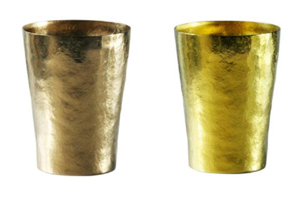 【送料無料】玲 二重 ブラウン イエロー ゴールド 250ml 純チタンタンブラー  敬老の日にオススメ純チタンコップ 泡立ちにこだわった純チタンカップを夏のビールのお供に