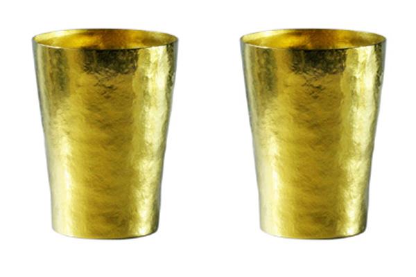 【送料無料】玲 二重 ゴールド イエロー ペアセット 250ml 純チタンタンブラー  敬老の日にオススメ純チタンコップ 泡立ちにこだわった純チタンカップを夏のビールのお供に