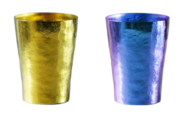 【送料無料】玲 二重 ゴールド イエロー ブルー ペアセット 250ml 純チタンタンブラー  敬老の日にオススメ純チタンコップ 泡立ちにこだわった純チタンカップを夏のビールのお供に