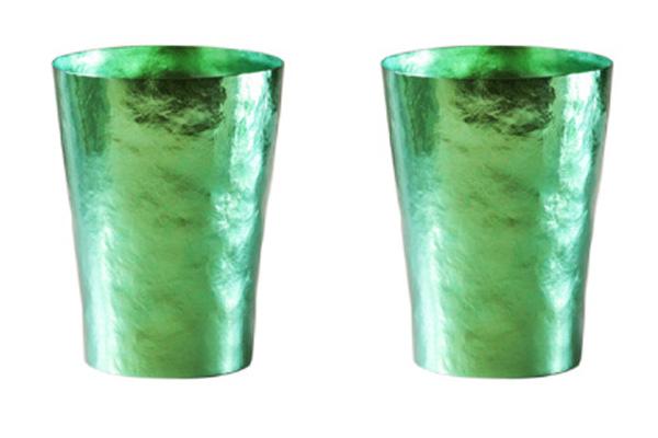 【送料無料】玲 二重 グリーン ペアセット 250ml 純チタンタンブラー  敬老の日にオススメ純チタンコップ 泡立ちにこだわった純チタンカップを夏のビールのお供に